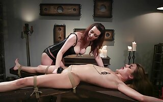 Lezdom session takes a kinky weave for Domme Cherry Torn plus Zoe Sparx