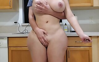 Scorching mother increased by sonny in kitchen