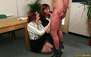 Mammy shares cock with the progressive chick in the office