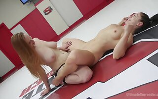 Lesbo dolls share the ring up intense sexual catfight