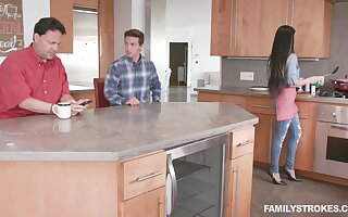 Crazy kitchen shag with his concede step mom