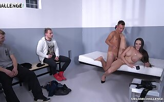Dominant woman is ready for a triple dose of hard wood
