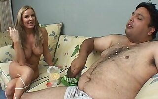 Dirty fat lady's man gets lucky added to fucks pretty blonde Laura Monroe