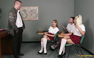 Creature schoolgirls allotment cock in CFNM make believe