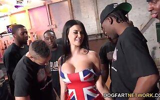 Tall UK MILF with huge tits enjoying a dank interracial gangbang sex