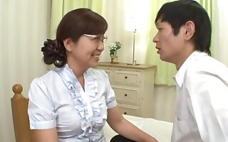 Japanese mature pleases her nephew apropos good sex