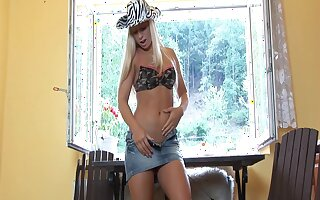 Video of crestfallen blondie Candy Blond pleasuring their way cravings with toys