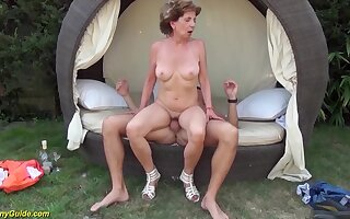 Super skinny 76 seniority age-old grandma gets extreme aside outdoor feast-day banged