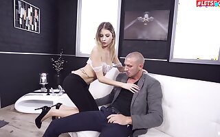 Astounding scenes of anal on the couch with thin Rebecca Volpetti