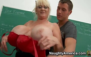 My Mature Coitus Teacher - Obese fake boobs in dramatize expunge classroom hardcore