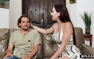 Tall beamy breasted MILF stepmom finally fucks her horny peeping stepson