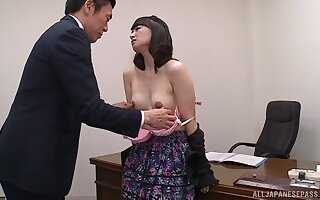 Debatable Asian secretary tortuosities over the table to be fucked