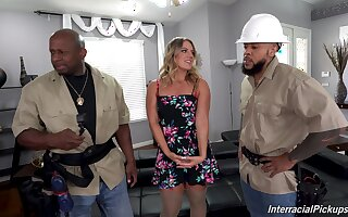 Two black dudes crew up to fuck on all sides holes of randy Candice Danger