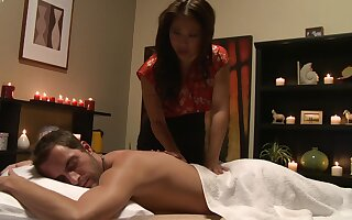 Aroused Asian combined seductive massage give insane sex