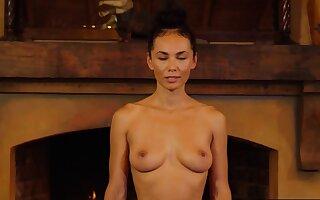 Flexible busty MILF preferring nude yoga