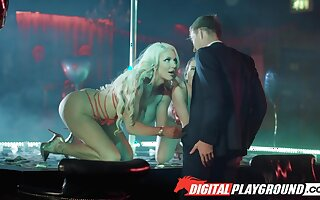 Two strippers Abigail Mac coupled with Nicolette Shea serve one client in the V.I.P range