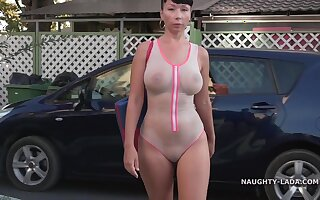 Naughty Russian Exhibitionist Outdoors in White swinsuit - Milf