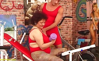 Puristic bush bbw grandma enjoys rough obese dick fucking on tap the gym by her flair coach