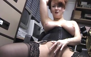 Hot MILF Red strips down and teases with her big tits and pussy