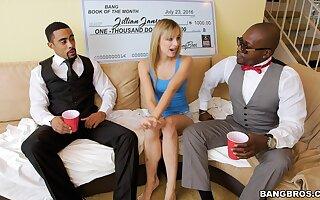 Black dudes with large dicks fuck small boobs blondie Jillian Janson