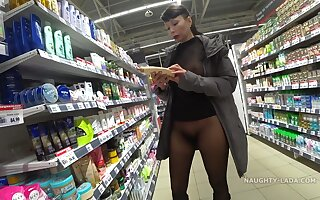 Public SuperMarket Pussy Flashing - Brunette Russian Milf Exhibitionist