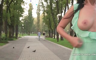 Outdoor public flashing and teasing - Seethrough and heels - Big tits