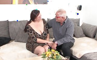 Busty mature slut Inge enjoys riding her husband's fat dick