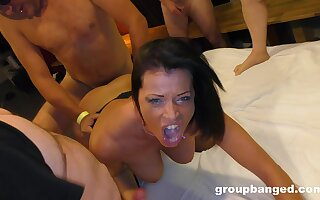 Amateur gangbang at home for a unpredictable intensify mature wife who loves cum