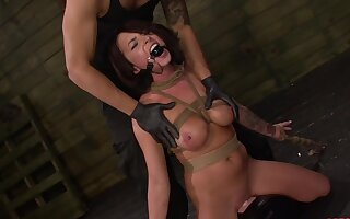 Gagged babe handles the dick in perfect BDSM scenes