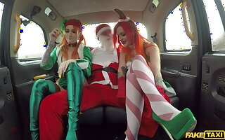 Sexy babes share Santa's dick in marvelous manners
