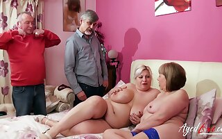 Two ladies enjoying full attention and of two handy men and got fucked