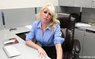 Blonde secretary loves to flash her tits and notices a pulsating boner