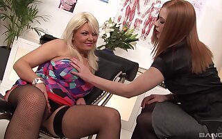 Two sluts Tiffany Kingston & Ruby Reds share one cock in the office