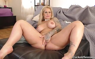 Horny blonde milf with a big, round ass is cuckolding her husband with two black guys