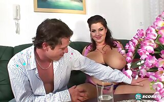 Chubby lady, Angelina Vallem was rubbing her partner's huge dick against her very big tits