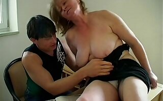 Wild fucking in the living room with dirty second-rate granny Ela
