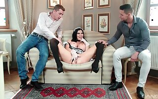 MILF forth maid uniform tempted at the end of one's tether fucking forth threesome scenes