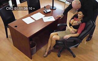 Horny big breasted secretary Becky Bandini gives a superhuman blowjob