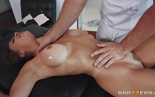 MILF gets facialized during insane massage porn