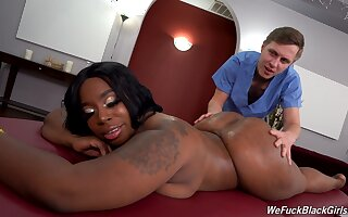 Perfect ebony likes man's huge dong first-rate her thick ass