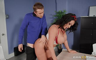 Fine ass MILF bends over the chiffonier for this dude to pound her