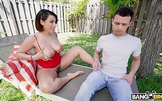 Pervert is spying on hot nextdoor chick sunbathing in thongs