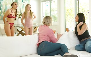 Stepmoms vs stepdaughters with regard to the hottest lesbian orgy ever