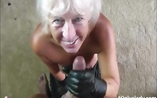 Handjob blowjob blonde granny to fall cum