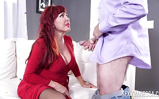Low-spirited redhead BBW Low-spirited Vanessa has vilification to riding strong cock