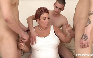 Wealthy old woman pays for gangbang just about several young guys