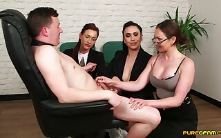 MILFs in hot office outfits, insane CFNM on a single dick